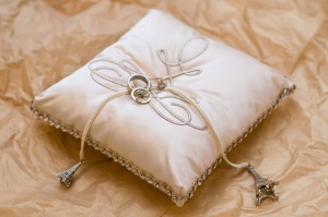 Eiffel tower inspired ring pillow